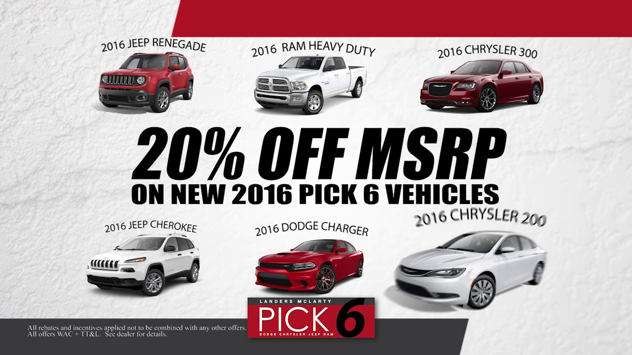 Choose Any Of 6 Vehicles And Get 20% Off At Landers McLarty DCJR  Huntsville. Landers McLarty Dodge Chrysler Jeep Ram