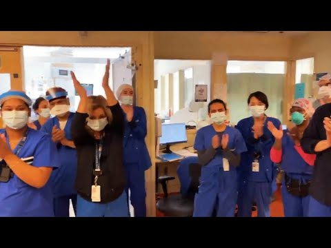 Toronto hospital workers celebrate having no COVID-19 patients