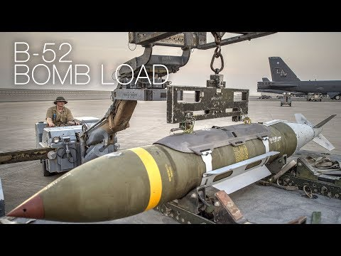 Loading JDAM Bombs Onto B-52 Strategic Bomber