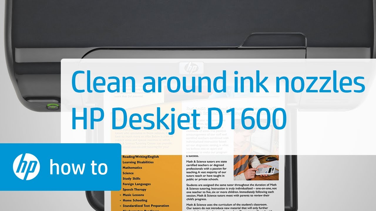 cleaning the area around ink nozzles to resolve print quality issues hp deskjet d1600 youtube. Black Bedroom Furniture Sets. Home Design Ideas