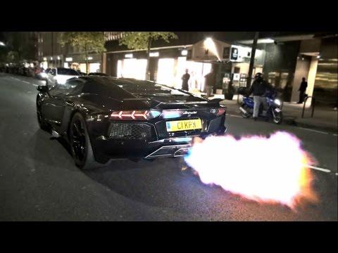 BIGGEST FLAMES EVER from Lamborghini Aventador!