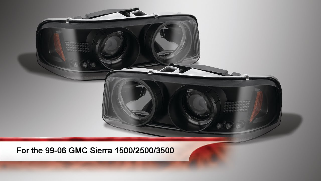 99 06 gmc sierra 1500 2500 3500 led halo projector headlights
