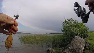 Немного порыбачил на Беловском водохранилище в плохую погоду