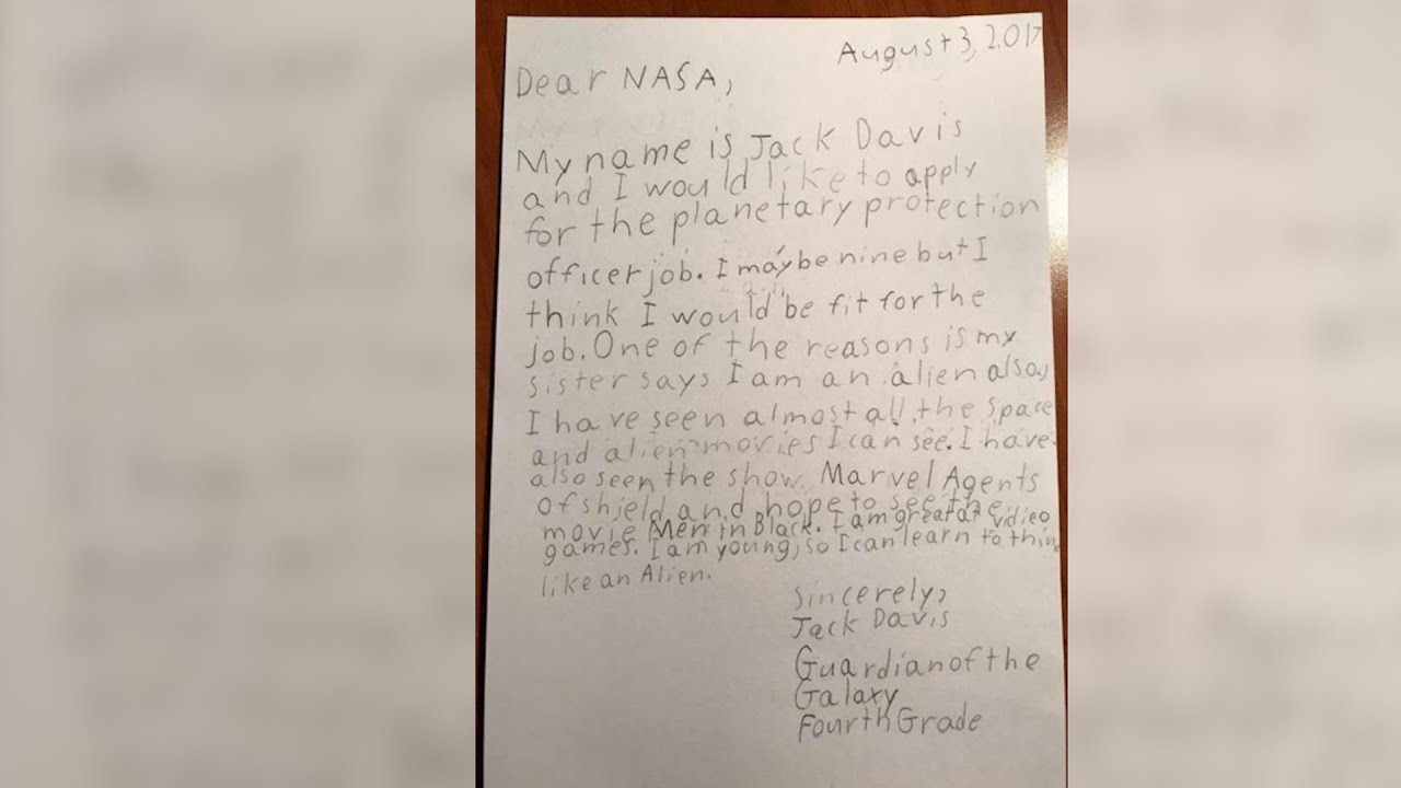 see letter nasa sent 9 year old boy after applying for position