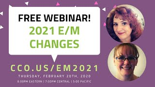 This month's free cco q&a webinar is fully dedicated to explaining the new 2021 e/m changes. don't miss out on our coverage!register here: http://www.cc...