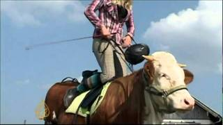 رفض والديها شراء حصان فدربت بقرة