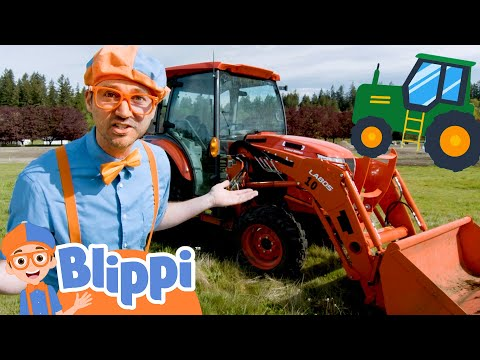 Blippi Explores A Red Tractor! Construction Vehicles Part 2 | Educational Videos For Kids