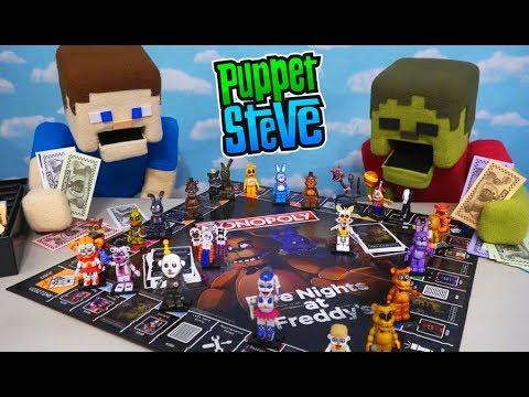 Five Nights at Freddy&39;s Monopoly WAR Puppet Steve vs Zombie Steve Unboxing Review