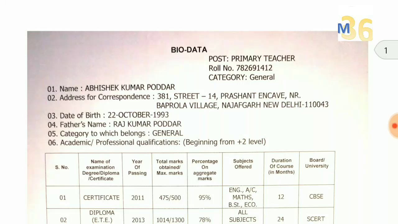 How to fill Bio data and Resume Sample - YouTube