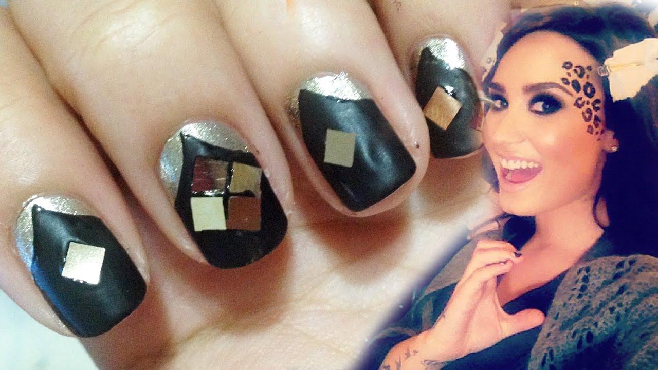 MATTE BLACK V NAILS ♥ Demi Lovato Inspired ! - YouTube