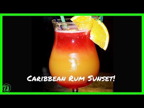 CARIBBEAN RUM SUNSET BLENDED COCKTAIL!