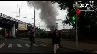 Пожар в автосервисе на Ярославском шоссе в Москве