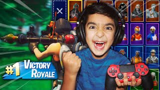VICTORY = EVERY SKIN IN FORTNITE FOR MY 6 YEAR OLD LITTLE BROTHER! | KID WINS EVERY SKIN IN FORTNITE