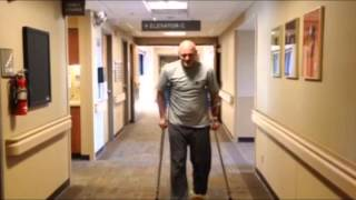 Minimally invasive rapid recovery total hip replacement surgery patient walking after surgery