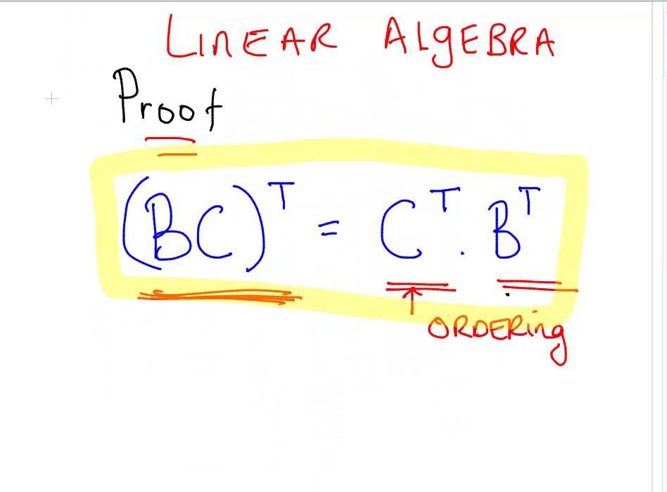 Linear Algebra - Transpose Matrices Proof