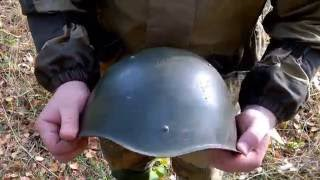 Стрельба по стальной  каске из сайги 410, сайги 20с и иж27