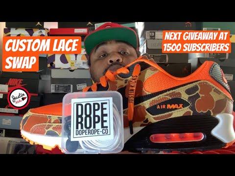 Custom Lace Swap Nike Air Max 90 Orange Duck Camo & Sneaker Review
