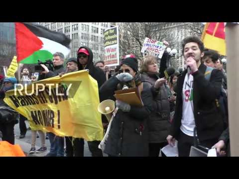 LIVE: Protesters rally in NYC to condemn US strikes in Syria