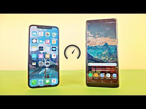 iPhone X vs Samsung Galaxy Note 8 - Speed Test! (4K)