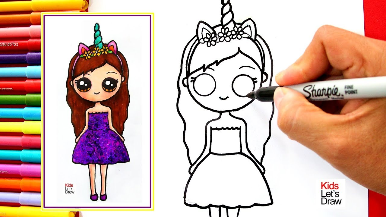 Aprende A Dibujar Una Niña Unicornio Kawaii Con Brillantina How To Draw A Glitter Unicorn Girl
