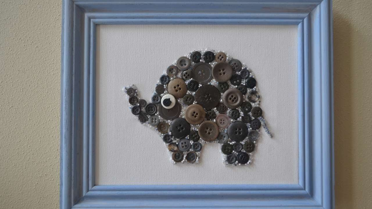 how to create button and bead elephant nursery wall art diy crafts tutorial guidecentral. Black Bedroom Furniture Sets. Home Design Ideas