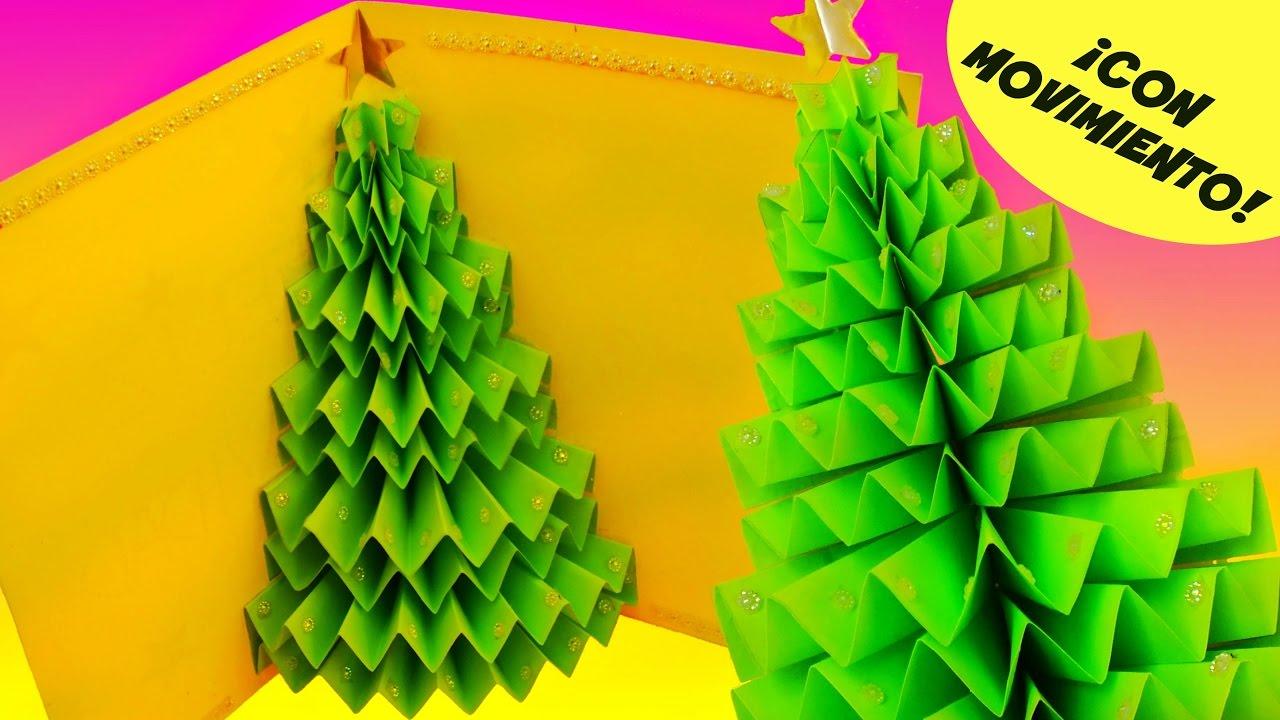 Diy tarjeta de navidad rbol o pino 3d que se mueve pop - Arbol de navidad de origami ...
