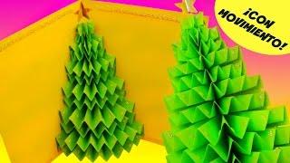 DIY TARJETA DE NAVIDAD: Árbol o Pino 3D QUE SE MUEVE (Pop-Up)
