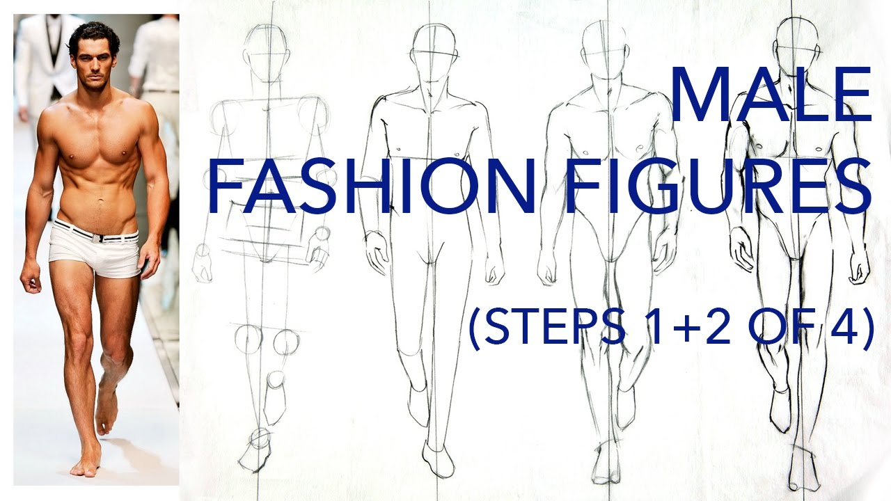 male fashion figures steps 1 and 2 of 4 figuring out the pose