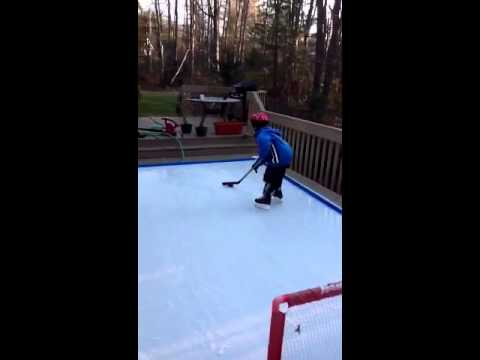 Backyard Deck Ice Rink, Homemade Hockey Skating Rink! Less Than 50 Bucks