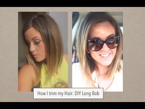 How I Cut My Hair Long Bob Trim YouTube
