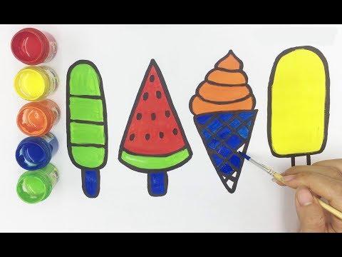 Vẽ và tô màu các que kem | Bé Học Tô Màu | Draw  ice cream and coloring baby  | Min Kids TV  HD