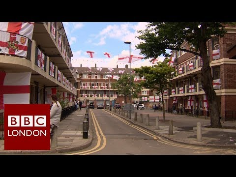 The London estate decorated in England flags - BBC London News