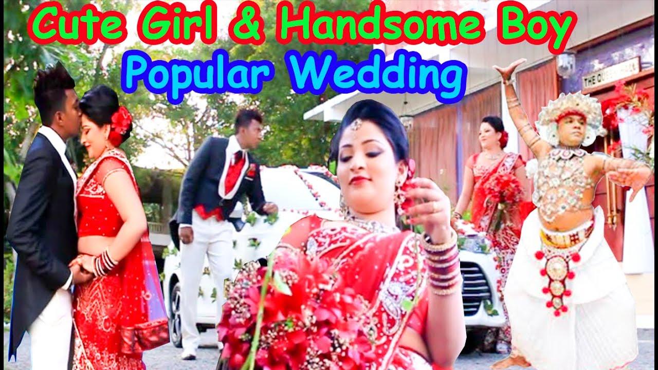 cute කෙල්ලගෙයි  handsome කොල්ලගෙයි sweet wedding එක.Part 1