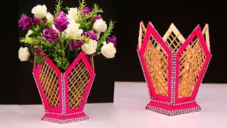 How to make flower pot at home out of Popsicle stick/Ice cream sticks - DIY handmade flower pot