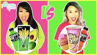 Eating Green Vs Pink Food For 24 hours challenge! Eating one color food challenge!