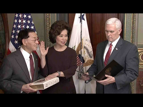 Elaine Chao sworn in as the next secretary of US Department of Transportation