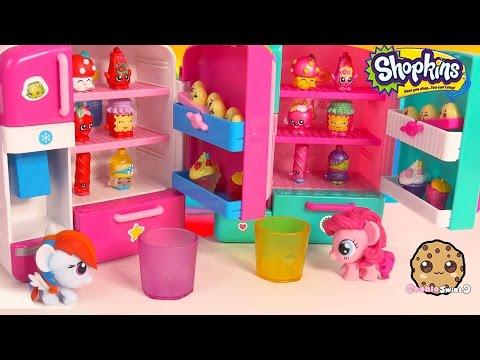 MLP Pinkie + Rainbow Dash Compare Shopkins Season 3 Metallic So Cool Fridge Refrigerator Playset