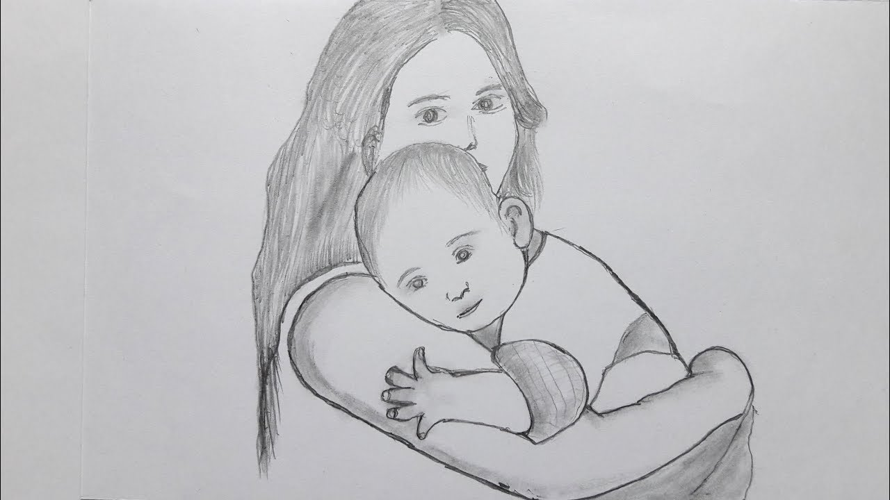 How To Draw Mom And Her Kids Very Easy Way Mom And Child Sketching Youtube