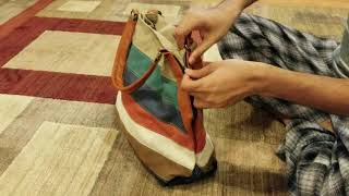JSENO Lady's Canvas Handbag Casual Retro Hobo Shoulder Cross Body Handbag Colorful Stripes