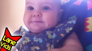 9 Month Old Eats Cheesy Tuna And Corn Pasta Salad - Video 15 - Baby-led Weaning (blw) - Thefunnyrats
