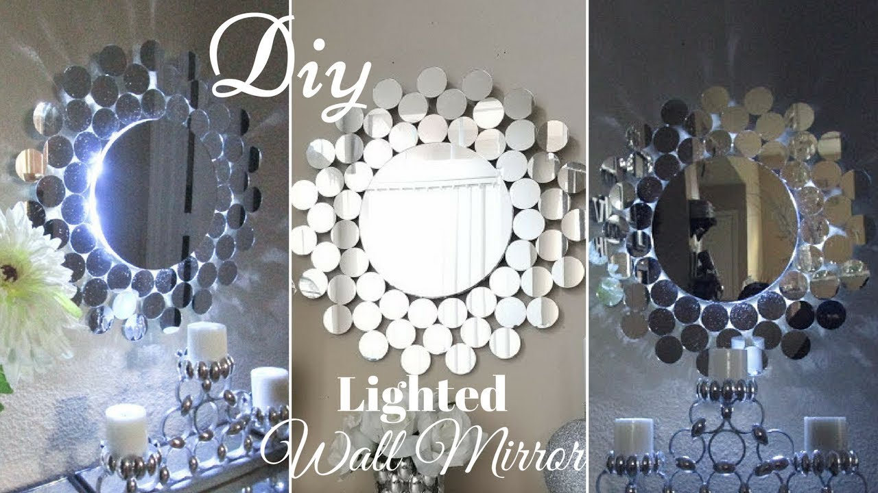 Diy Glam Wall Mirror Decor With Inbuilt Lighting Youtube