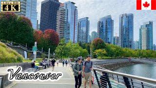 🇨🇦【4K】Vancouver Autumn Walk - Coal Harbour from Burrard Street  (September, 2021)