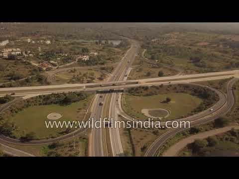 Bangalore clover-leaf flyover aerial view - road infrastructure comes of age in India
