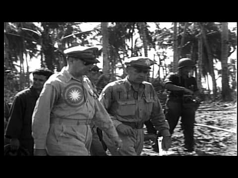 President Sergio Osmena and General Douglas McArhtur visit Leyte Island in Philip...HD Stock Footage