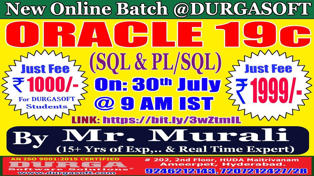 ORACLE 19c Online Training @ DURGASOFT