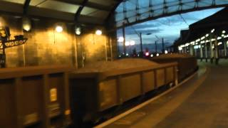 Freightliner 66595 @ Newcastle working 6Y09 loaded ballast and heavy Crane engineers trains 22/9/12
