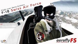 Aerofly FS simulator F 18 Swiss Air Force High Speed Flight over Swiss Scenery