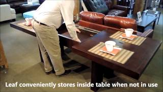 Toronto Double Pedestal Dining Table: Leaf Extension Demonstration