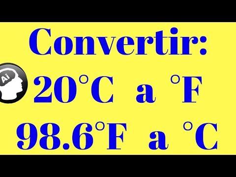 Convertir 20 grados centigrados a farenheit y 98.6 grados farenheit a centigrados