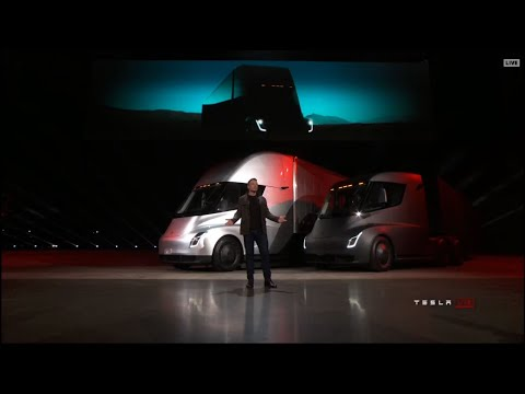 Raw: Tesla Unveils Electric Semitractor-Trailer